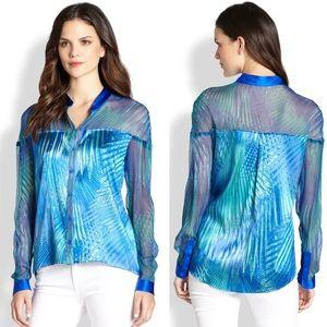 Elie Tahari Chelsea Silk Blouse In Plush Teal XL